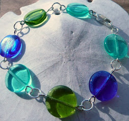 Beach Glass 3 Coins in the Fountain Bracelet