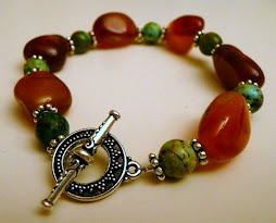 Carnelian and African Turquoise Bracelet