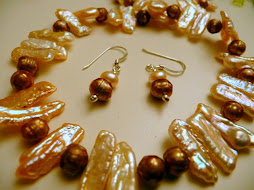 Stick and faceted pearl necklace and earrings set