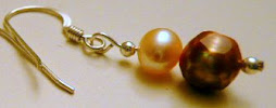 Champagne Faceted and Peach Round Pearl Earrings