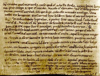 Primera página del manuscrito del Auto de los Reyes Magos