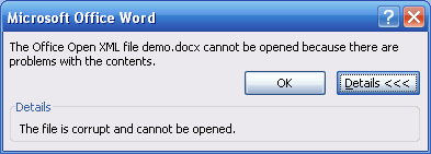 Document is corrupt prompt from Word 2007