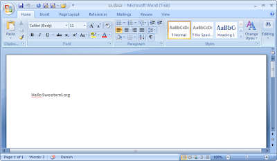 The simple 'Hello Sweetxml.org' document shown in Word 2007