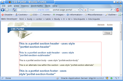 The Oracle CSS portlet - outline the portlet part with the webdeveloper add on to firefox