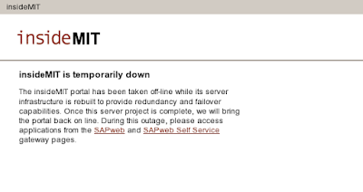 A screen dump from the 'insidemit.mit.edu' website with the text 'insideMIT is temporarily down'