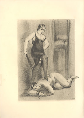 Woman in black dress with birch standing over bound man on floor
