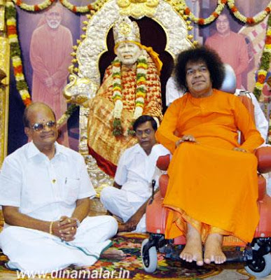 sree satya sai baba in ananda nilayam with devotees