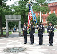 The U.S. Park Police present the colors as part of the Wreath-Laying Ceremony.