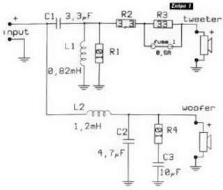 Electronic Parts and Schematic Diagram: 2 Way Cross-Over
