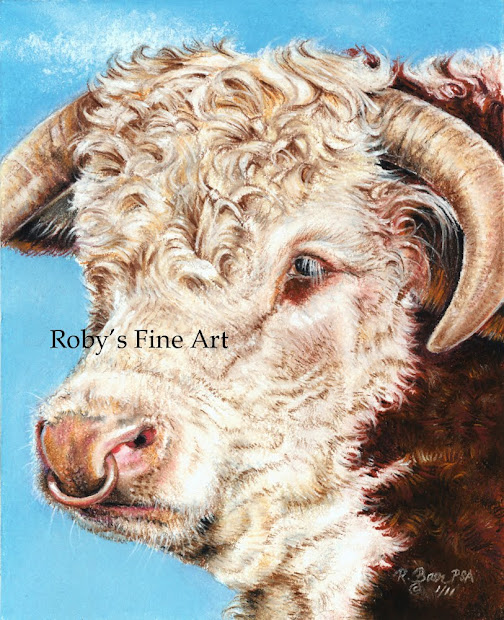 "Pastel Paintings Roberta ""roby"" Baer Psa ""hereford Bull"""