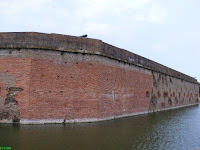 View of Fort Pulaski's breached walls and broken cannon