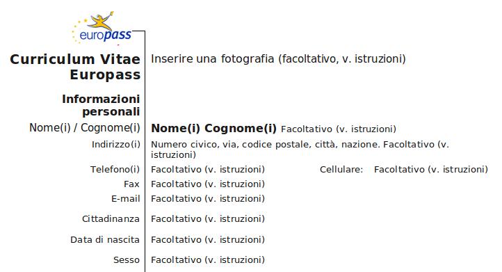 Il Nome Va Prima Del Cognome Formato Europeo Curriculum Vitae