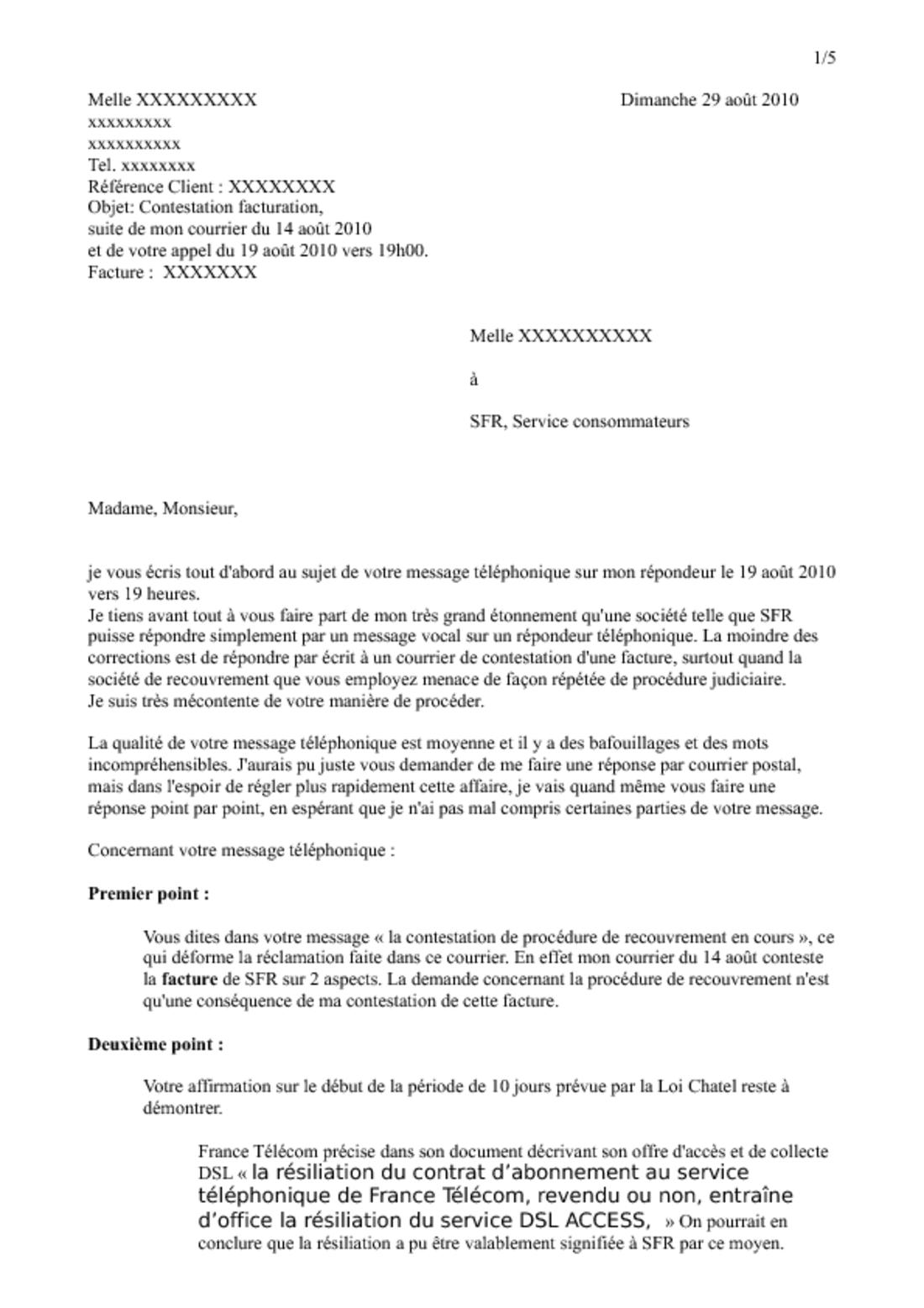 Rtf Exemple De Lettre De Resiliation Sfr
