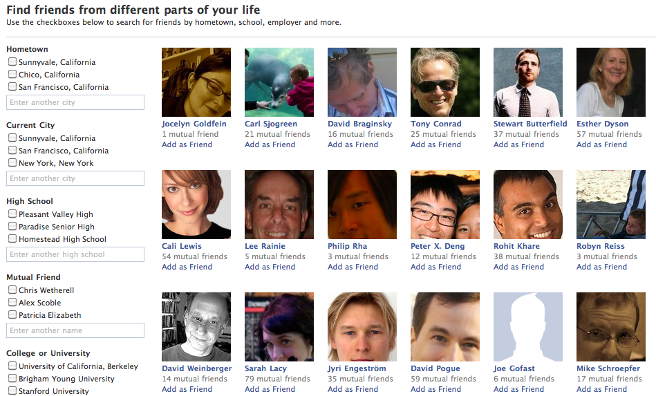 louisgray com: Facebook's Friend Finder: The Largest People Database?