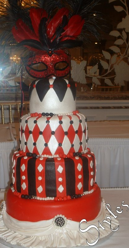 Cakes By Styles Sweet Sixteen Red Black Masquerade Theme Cake
