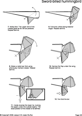Origami Hummingbird Diagram Instructions Vw Bug Wiring For Dune Buggy Bannalia Trivial Notes On Themes Diverse Diagrams These Are The Folding Sword Billed Shown In A Prior Entry Click Images To Enlarge