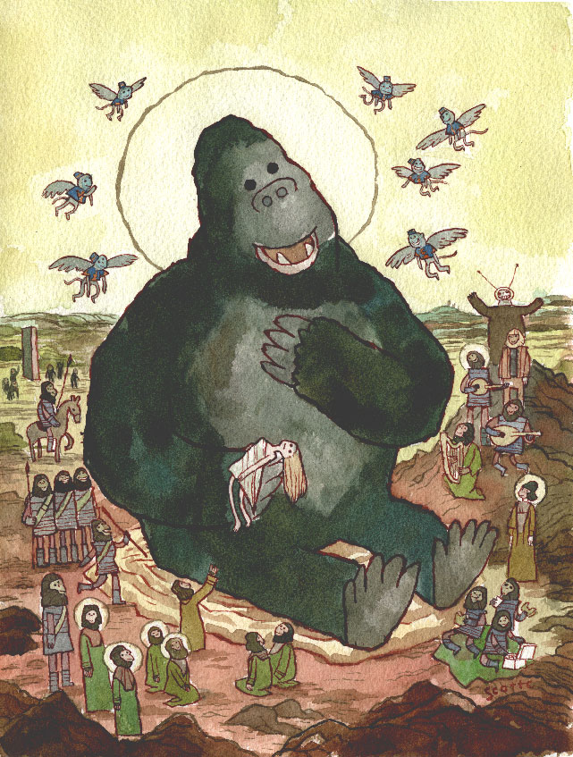 King Kong Ape Porn - Finally the King felt like a king. Poor beast was just lonely. And the  flying monkeys look pretty happy too. (Ape Amongst Apes via Scott Campbell,  ...