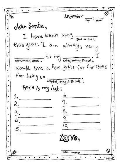 letter to santa template bnute productions letter to santa mad libs style 28753