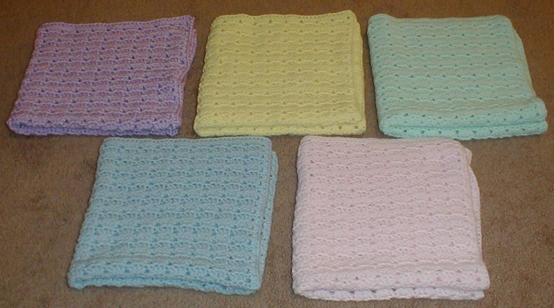 Karens Crocheted Garden Of Colors 5 Preemie Baby Blankets
