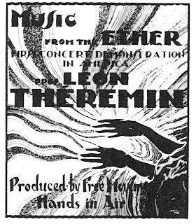 Cartel anunciando la primera demostración del theremin en los Estados Unidos en 1928
