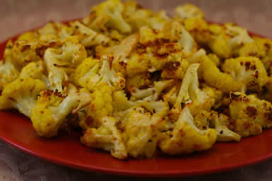 Original Photo Roasted Curried Cauliflower with Lemon and Cumin found on KalynsKitchen.com
