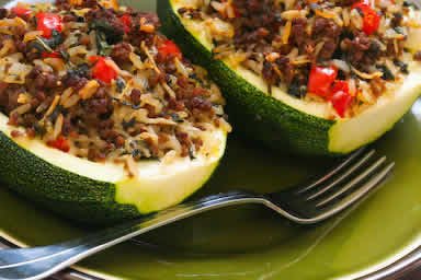 Original photo for Stuffed Zucchini Recipe with Brown Rice, Ground Beef, Red Pepper, and Basil, with Variations found on KalynsKitchen.com