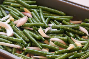 Garlic-Roasted Green Beans with Shallots and Almonds found on KalynsKitchen.com