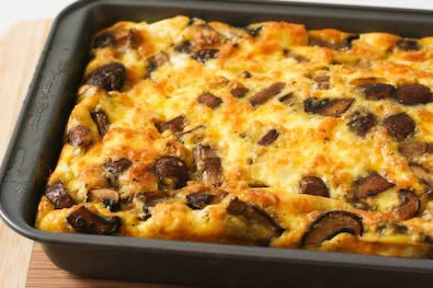 Original Photo Low-Carb Mushroom and Feta Breakfast Casserole found on KalynsKitchen.com