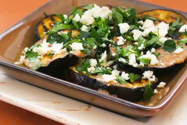 Grilled Eggplant with Garlic-Cumin Vinaigrette, Feta, and Two Herbs