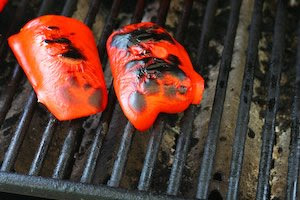 How To Roast Red Bell Peppers on a Barbecue Grill found on KalynsKitchen.com
