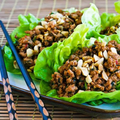 Asian Lettuce Cups with Spicy Ground Turkey Filling found on KalynsKitchen.com