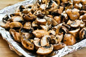 Roasted Mushrooms with Garlic, Thyme, and Balsamic Vinegar found on KalynsKitchen.com