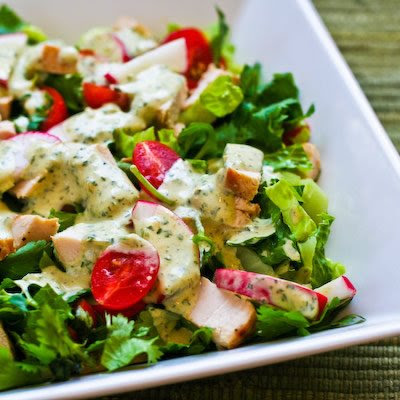 Leftover Chicken Chopped Salad with Cafe Rio Style Creamy Tomatillo Dressing found on KalynsKitchen.com