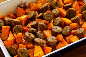 Easy Roasted Winter Squash and Sausage with Herbs found on KalynsKitchen.com