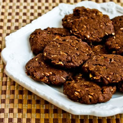 Whole Grain Low-Sugar or sugar-free Chocolate Cookies with Pecans
