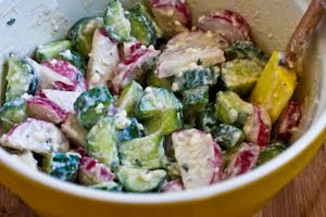 Cucumber and Radish Salad with Feta, Red Wine Vinegar, and Buttermilk Dressing found on KalynsKitchen.com