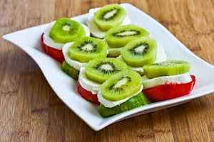 Caprese Salad with Red and Green Tomatoes and Kiwifruit found on KalynsKitchen.com