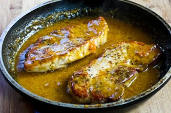 Pan Fried And Roasted Pork Chops With Apricot Dijon Sauce