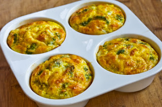 Baked Mini-Frittatas with Broccoli and Three Cheeses found on KalynsKitchen.com