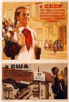 Плакат Образование в СССР и США В СССР: в 1951-1955 годах строительство городских и сельских школ увеличится, примерно, на 70% по сравнению с предыдущим пятилетием.В США: ассигнуется по бюджету на народное просвещение 1% и 74% на военные расходы.В США насчитывается свыше 10 миллионов неграмотных; около одной трети детей школьного возраста не учится.