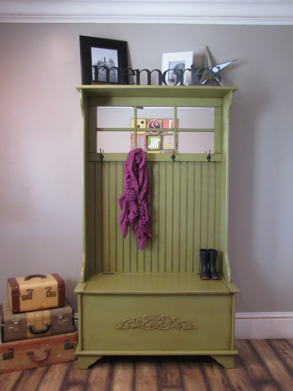 dusty gem decor: Storage Bench Coat Rack