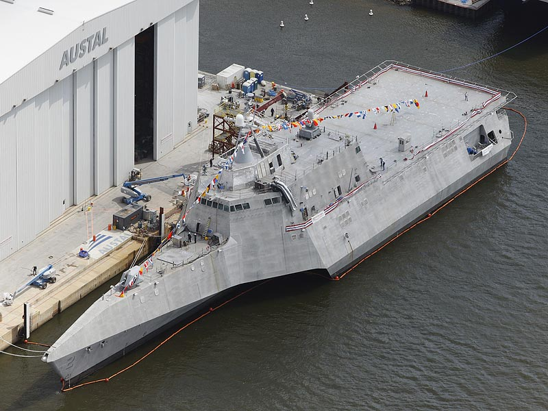 USS Independence LCS-2 docked at Austal ship building facility