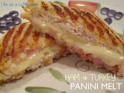 Ham and Turkey Panini Melts are filled with ham, turkey, cheese and Dijon mustard. Life-in-the-Lofthouse.com