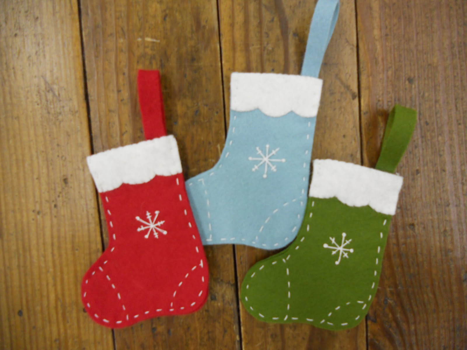 wool felt central snowflake stocking ornament tutorial