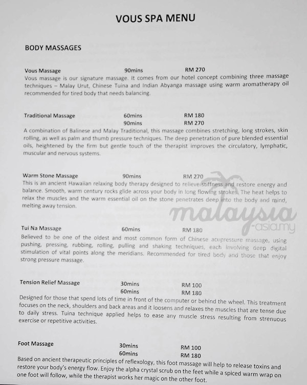 Pullman Resort Putrajaya Spa Packages Menu