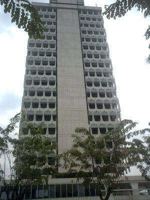View of the tower block of the Malaysia Parliament House from the Car Park inside the compound