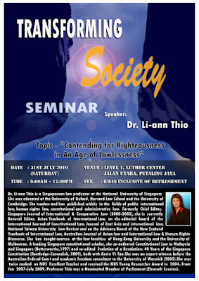 poster: Transforming Society by Dr. Li-ann Thio