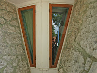 Window inset detail at the Bruce Goff house in Vinita