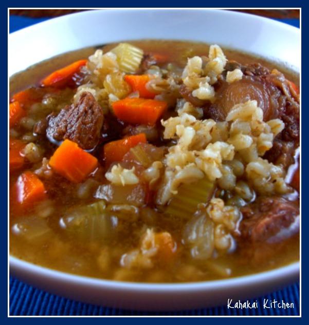 Kahakai Kitchen: Ina's Rich Beef Barley Soup For Souper