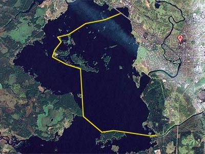 Примерный маршрут похода на байдарке по Вышневолоцкому водохранилищу